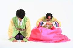 Дети в корейском платье стоковое фото rf