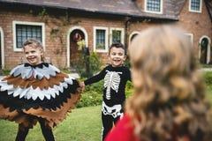 Дети в костюмах хеллоуина держа руки в парке стоковая фотография