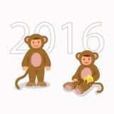 Дети в обезьянах костюма Изолированные характеры мальчик и девушка в тематических костюмах Стоковые Фото
