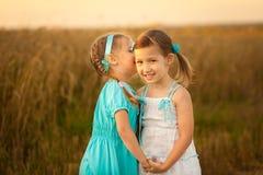 Дети в пшеничном поле на теплом и солнечном вечере лета Стоковые Изображения