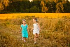 Дети в пшеничном поле на теплом и солнечном вечере лета Стоковое Изображение RF