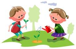 Дети в саде бесплатная иллюстрация