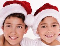 Дети в шляпе Санта Клауса Стоковое Изображение RF