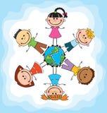 Дети глобуса День земли детей вектор Стоковое Изображение