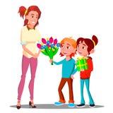 Дети дают цветки и подарки к вектору матери подарок присутствующий изолированная иллюстрация руки кнопки нажимающ женщину старта  иллюстрация вектора