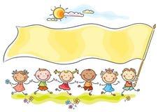 Дети держа большой флаг иллюстрация штока