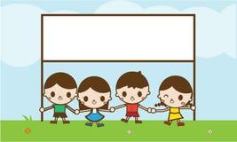 Дети держа знамя на парке Иллюстрация штока