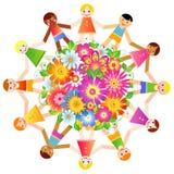 Дети вокруг процветать глобуса Стоковые Фотографии RF