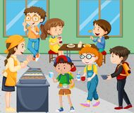 Дети есть обед в столовой бесплатная иллюстрация