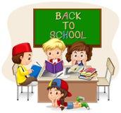 Дети делая работу школы в классе бесплатная иллюстрация
