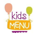 Дети еда, меню кафа специальное для шаблона знака Promo детей красочного с текстом и воздушные шары Стоковое Изображение