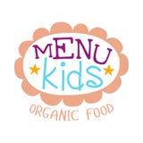 Дети еда, меню кафа специальное для шаблона знака Promo детей красочного с текстом в розовой флористической рамке Стоковое Изображение