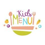 Дети еда, меню кафа специальное для шаблона знака Promo детей красочного с текстом и салатница Стоковые Изображения