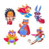 Дети животного супергероя Смешные животные нося костюмы супергероев Установленные характеры вектора Cosplay иллюстрация вектора