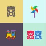 Дети забавляются логотип иллюстраций значков turntable плюшевого медвежонка и локомотива плоский Стоковые Фотографии RF
