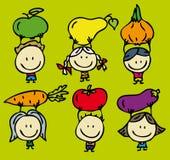 Дети зеленой еды Стоковая Фотография
