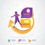 Дети золота логотипа концепции кальция и витамина омеги детей Стоковая Фотография
