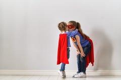 Дети играют супергероя Стоковые Фото