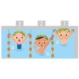 Дети играя бассейн Стоковые Фотографии RF