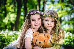 Дети играя в луге Стоковые Изображения