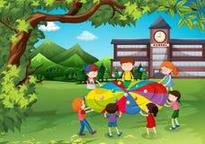 Дети играя в школьном дворе иллюстрация вектора