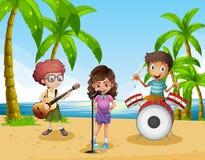 Дети играя музыку в диапазоне на пляже иллюстрация вектора