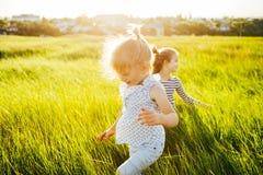 Дети играя наверстывание в зеленом поле на заходе солнца Стоковое Изображение