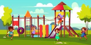 Дети играя на векторе мультфильма спортивной площадки парка иллюстрация вектора