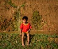 Дети играя на рисе field в севере Вьетнама Стоковые Фотографии RF