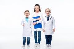 Дети играя докторов Стоковые Изображения