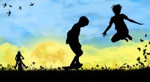 дети играя спорты Стоковые Изображения
