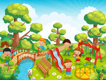 Дети играя с игрушками на спортивной площадке в векторе парка иллюстрация вектора