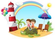 Дети играя с черепахой на seashore иллюстрация вектора