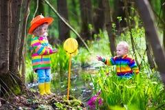 Дети играя с лягушкой Стоковые Фото