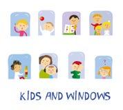 Дети играя, уча и имея потеху установленную дома около окон, графической иллюстрации Стоковое Изображение