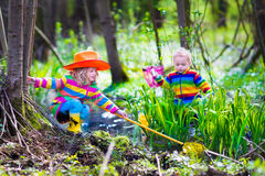 Дети играя outdoors улавливая лягушку Стоковая Фотография RF