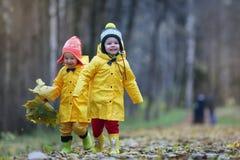 Дети идут в парк осени Стоковое фото RF