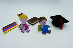 Дети идут обучить, съемка студии концепции стоковое изображение