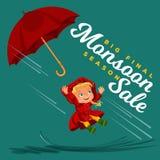 Дети идя под идти дождь небо с зонтиком, падения дождя капают в лужицы, идущ дождь мальчик или девушка внутри Стоковые Изображения RF