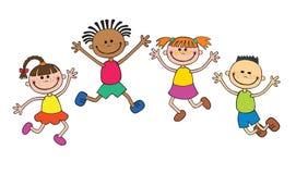 Дети изолировали смотрят вверх при ребенк интереса указывая на персонаж из мультфильма Уайта смешной также вектор иллюстрации при Стоковая Фотография RF