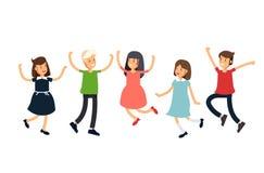 Дети иллюстрации Vctor установленные смешные скача на белую предпосылку потеха детей имеет совместно Подросток друзей иллюстрация штока
