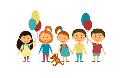 Дети иллюстрация детей персонажей из мультфильма цветастая графическая Стоковые Фото