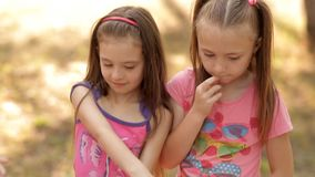 Дети имеют много потеху в лете на лужайке в парке, смеются над и играются потехой сток-видео