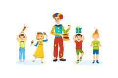 Дети имеют потеху с домом аниматора клоуна в комнате бесплатная иллюстрация