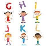 Дети имея воздушный шар, алфавит Стоковые Изображения