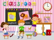 Дети имея потеху в классе бесплатная иллюстрация