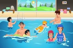 Дети имея урок заплывания иллюстрация штока
