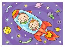 Дети исследуя космос иллюстрация вектора