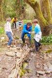 Дети и взрослые унося работу консервации на потоке Стоковые Изображения
