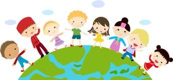 Дети и глобус иллюстрация вектора